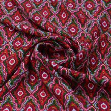 Red Green Morrocan Style Pattern - 100% Viscose Print